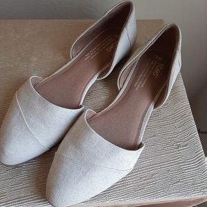Toms flats cream canvas and suede